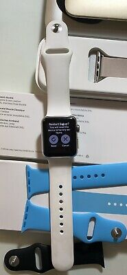 Apple  Series 1 Chrome 38mm watch With 6 Apple Bands Included