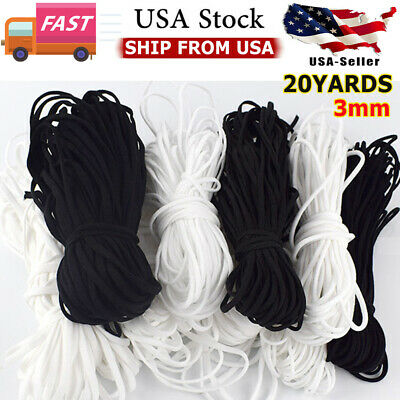 U-S 10-20 Yards 3mm Round Soft Elastic Band Cord Ear Hanging Sewing Crafts DIY