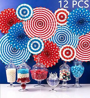Moon Boat Fourth of July Patriotic Decorations - Red White Blue Hanging Paper Fa