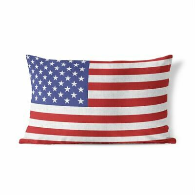 American Flag - Fourth of July Patriotic Lumbar Pillow Cover