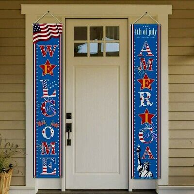Fourth of July Patriotic Decorations - Porch Sign Set Independence Day Red White