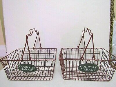 Set of 2 Country Market Wire Baskets