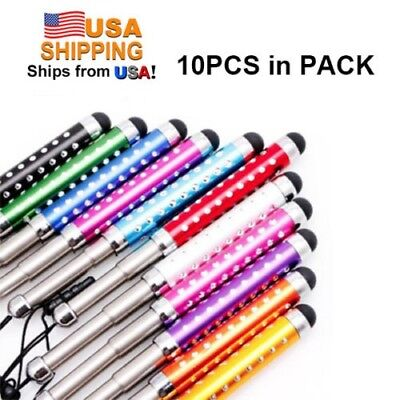 10 PACK Crystal Universal Retractable Capacitive Stylus Touch Screen pen