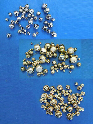 Lot of 177 Gold and Silver Sleigh Bells for Crafts