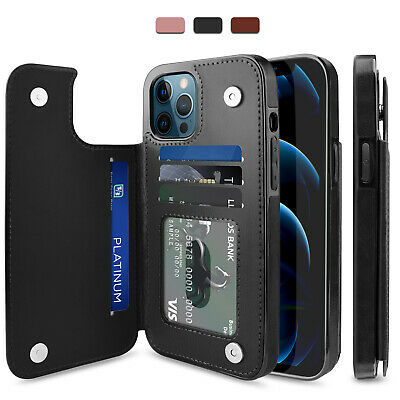 For iPhone 12 13 Pro MaxMiniPro Case Leather Card Wallet Slot Kickstand Cover