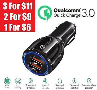 2 Port USB QC 3-0 Fast Car Charger for iPhone Samsung Google Cell Phone LG HTC