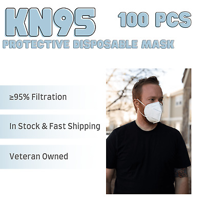 100 PACK Disposable KN95 Face Mask PM2-5 Breathable Mouth Cover