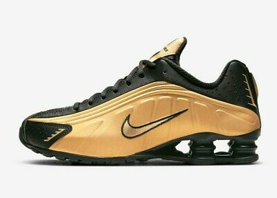 Nike Shox Mens Running Shoes R4 Metallic Gold Black 104265-702