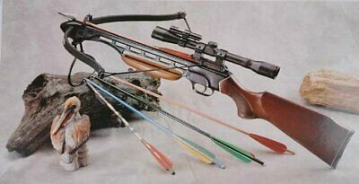 150 Lbs Wood Hunting Crossbow with Scope and Pack of Metal Arrows