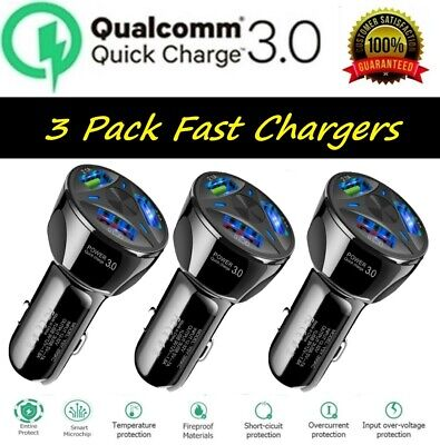 3 Pack 3 USB Port Fast QC 3-0 Car Charger for Samsung iPhone Android Cell Phone