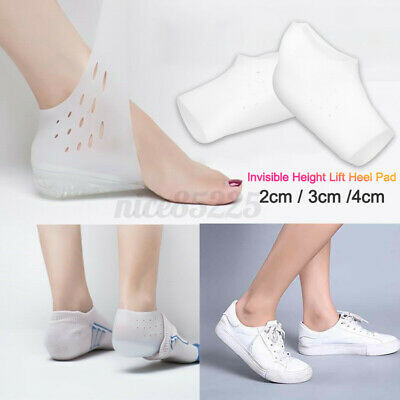 24CM Silicon Height Lift Heel Pad Sock Liners Increase Insole Pain Relieve Pa