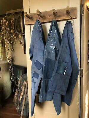 3 Pairs Old Handmade Blue Jeans Worn Patched Large Youth AAFA Textile Workwear