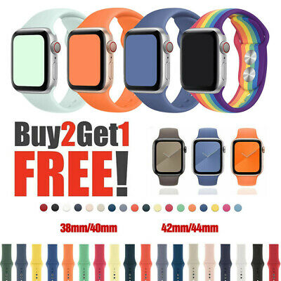 38424044mm Silicone Sport Band iWatch Strap for Apple Watch Series 6 SE 5 4 3