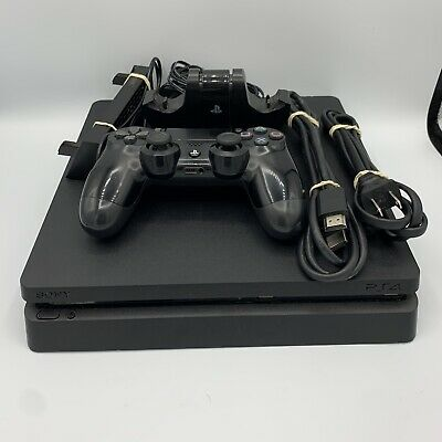 Sony PlayStation 4 PS4 Slim 1TB Jet Black Console Fan - Controller Stand Bundle