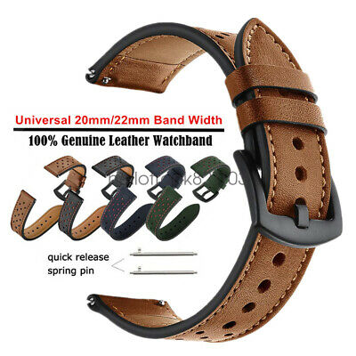 20mm 22mm Premium Genuine Leather Watch Band Strap Quick-Fit Universal Wristband