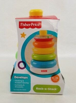 Fisher Price Rock A Stack 5 Colorful Rings Brilliant Basics Ages 6-36 Months NEW