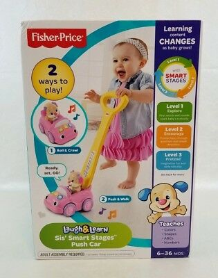 Fisher Price Push Car Sis Laugh - Learn Smart Stages Ages 6 to 36 Months NEW