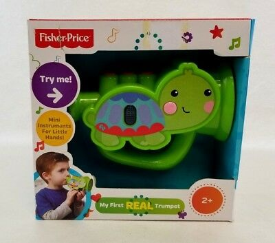Fisher Price My First Real Trumpet Green Turtle Toy Ages 2- NEW