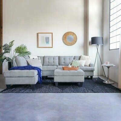 Modern 3 Piece Living Room Set Grey Sectional with Ottoman Sofa - Chaise Grey