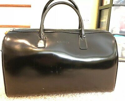 Vintage Authentic Gucci Carry On Luggage Black Patent  Leather WEEKENDER