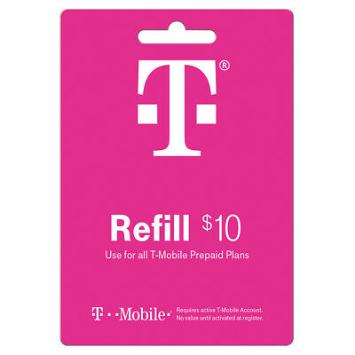 T-MOBILE Prepaid 10 Refill Top-Up Prepaid Card  DIRECT RECHARGE
