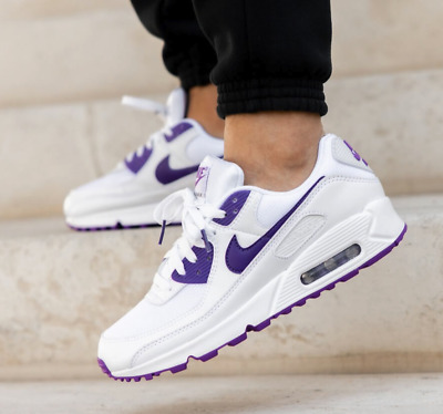 Nike Air Max 90 Running Shoes White Voltage Purple CT1028-100 Mens Multi Size