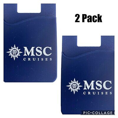 2 PACK MSC CRUISE SHIP LINE STICK ON CELL PHONE CREDIT CARD HOLDER WALLET CASE
