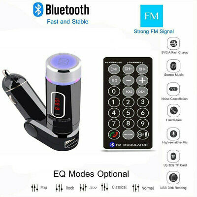 Bluetooth Car FM Transmitter MP3 Player Hands Free Charger for Smart Phone WF