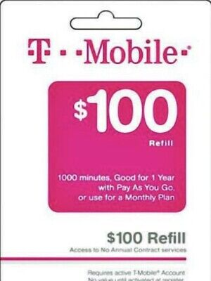 T-Mobile 100 Prepaid Refill Card Air Time Top-UpPin RECHARGEDirect