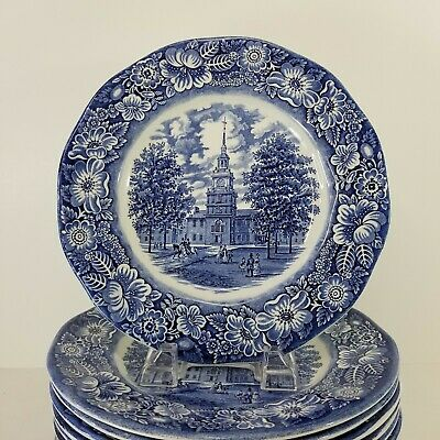 Staffordshire Liberty Blue Independence Hall Dinner Plate 9-75 England Multiples