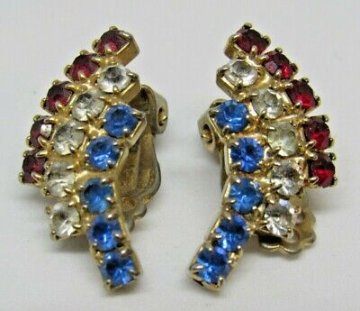 VINTAGE PATRIOTIC FOURTH OF JULY RHINESTONE CLIP EARRINGS RED WHITE BLUE