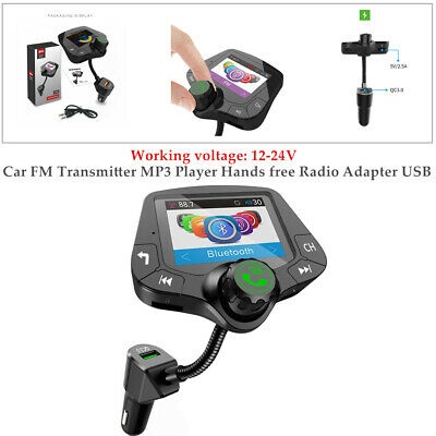 Bluetooth Auto FM Transmitter MP3 Player Hands free Radio Adapter USB Charger