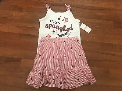 NWT Gymboree Fourth 4th of July Seersucker Skirt - Star Spangled Beauty Top 5 5T