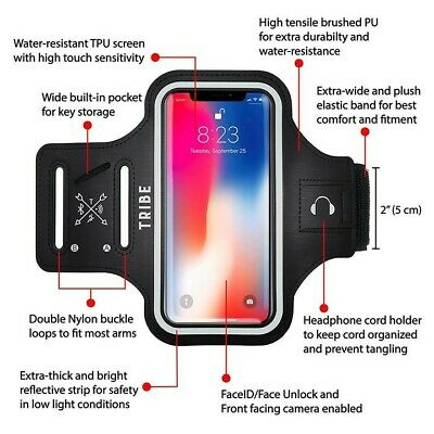 TRIBE Water Resistant Cell Phone Armband Case for iPhone 8 7 6 Samsung 5-2