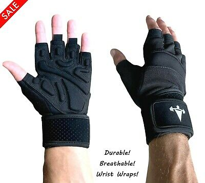 WomenMen Gym Gloves With Wrist Wrap Workout Weight Lifting Fitness Exercise US