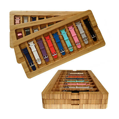 Wooden Stackable Storage Case for Apple Watch Bands Stores 9-18 bands Bamboo
