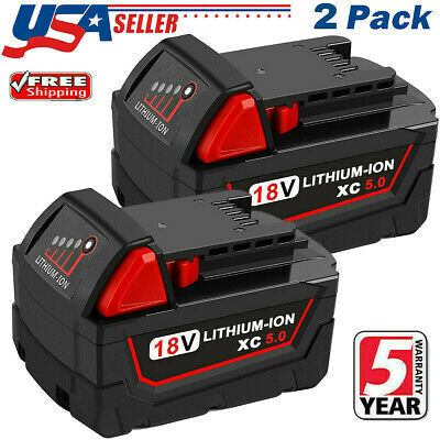 2 PACK For Milwaukee M18 Lithium XC 5-0 AH Extended Capacity Battery 48-11-1860