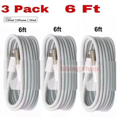 3-PACK 6FT USB Data Charger Cables Cords For iPhone 11 Pro Max XS X 8 7 6S 6 5
