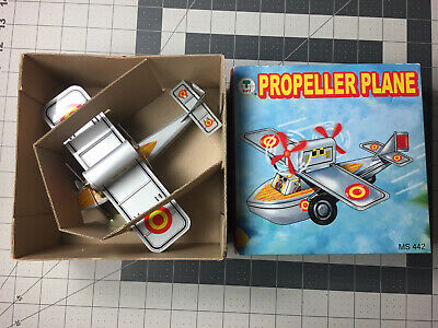 Propeller Plane Airplane Aircraft Replica Tin Toy MS442 Wind-up Key
