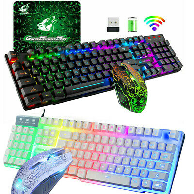 WirelessWired Gaming Keyboard Mouse Combo For PC PS4 LED Backlit Rechargeable