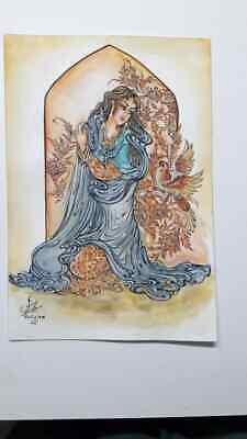 painting  water color  acrylic-hand painted Persian miniature Original -