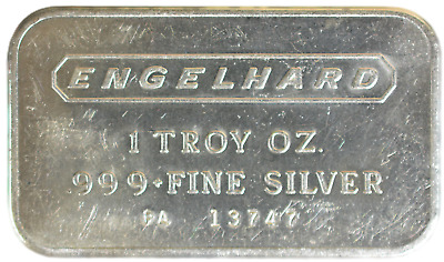1 oz Silver Bar Engelhard Landscape Elongated Logo Frosted Back TONED EI-01AV