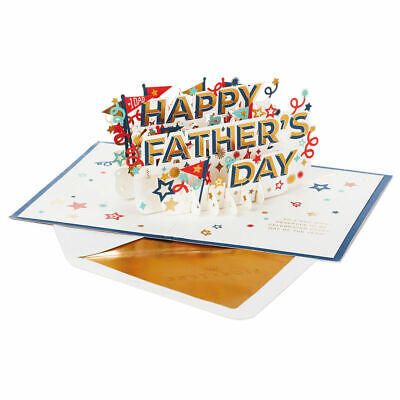 Hallmark Fathers Day Card by Signature  3D POP UP Stars - Pennants For Dad