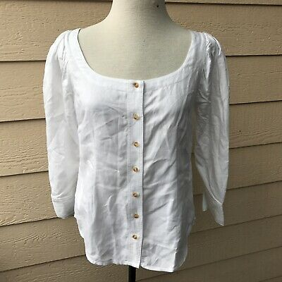 Anthropologie Maeve Solange Button Blouse White Long Sleeve Casual Party Top 4