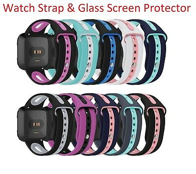 For Fitbit Versa Replacement Silicone Two Tone Strap - Glass Screen Protector