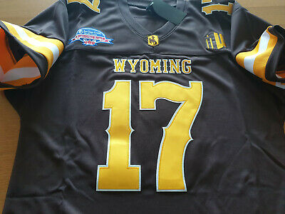 Brand New Wyoming Cowboys College 17 Josh Allen Dual Patch Sewn Jersey Brown