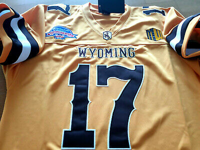 Brand New Wyoming Cowboys College 17 Josh Allen Dual Patch Sewn Jersey YELLOW