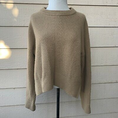 Everlane The Premium Ribbed Cashmere Camel Women Pullover Casual Long Sleeve L