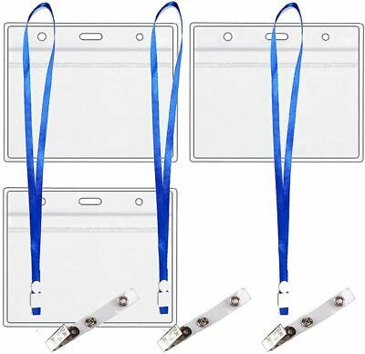 Vaccination  Record Card Protector  4x3 with 3 Clips - 3 Lanyards   3 Pack