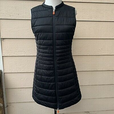 Save The Duck Long Puffer Vest Black Women Quilted Casual Pockets 3 L